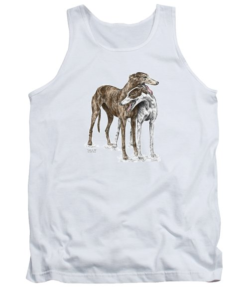 Tank Top featuring the drawing Lean On Me - Greyhound Dogs Print Color Tinted by Kelli Swan