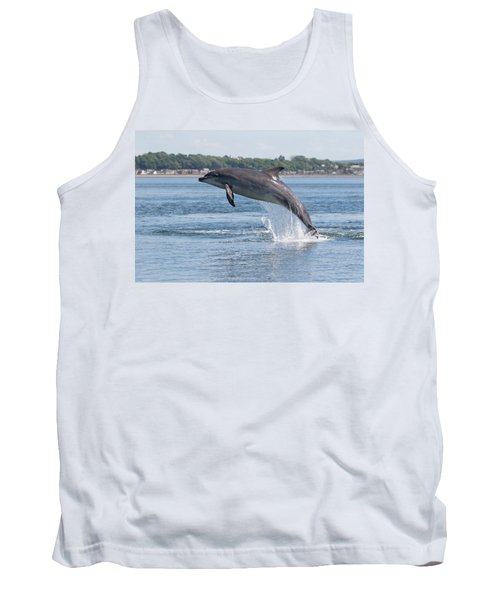 Tank Top featuring the photograph Leaping Dolphin - Moray Firth, Scotland by Karen Van Der Zijden