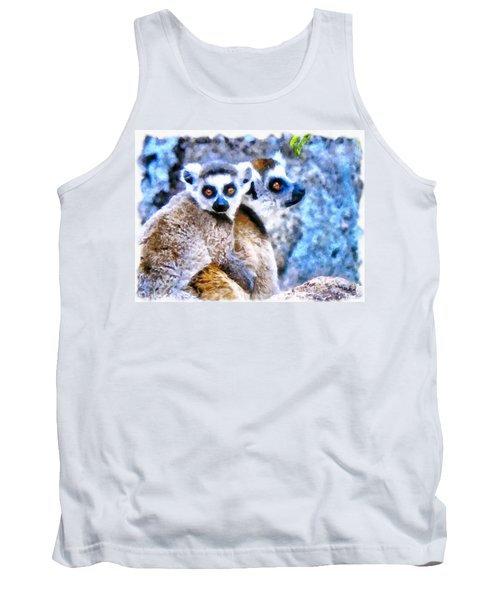 Tank Top featuring the painting Lemurs Of Madagascar by Maciek Froncisz