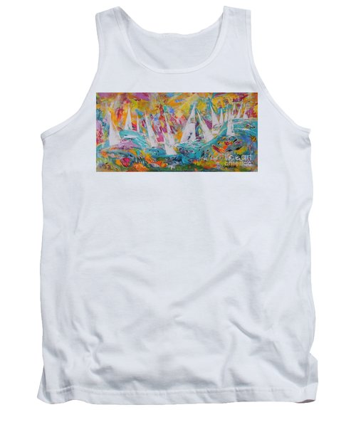 Tank Top featuring the painting Lets Go Sailing by Lyn Olsen