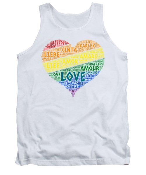 Lgbt Rainbow Hearth Flag Illustrated With Love Word Of Different Languages Tank Top