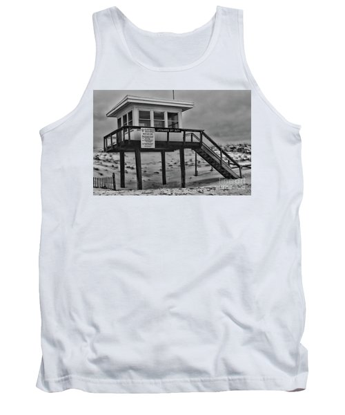 Tank Top featuring the photograph Lifeguard Station 1 In Black And White by Paul Ward