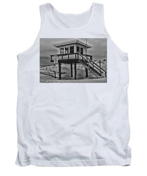 Tank Top featuring the photograph Lifeguard Station 2 In Black And White by Paul Ward