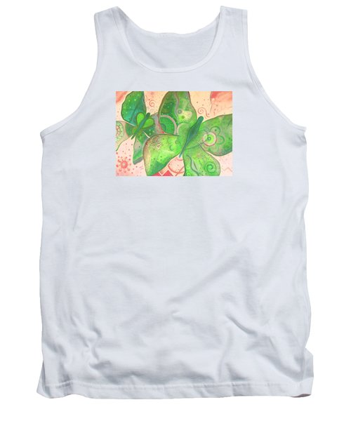 Lighthearted In Green On Red Tank Top