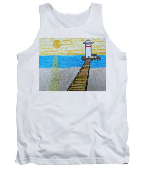 Lighthouse And Yellow Sun Tank Top