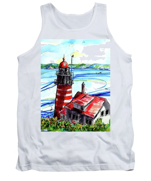 Tank Top featuring the painting Lighthouse In Maine by Terry Banderas