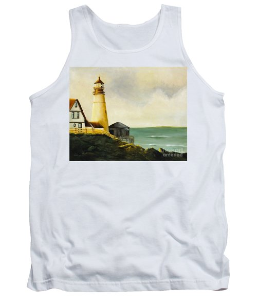 Lighthouse In Oil Tank Top