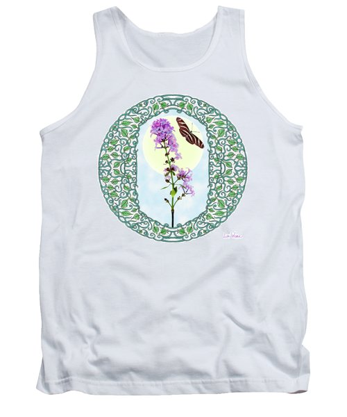 Lilac With Butterfly Tank Top by Lise Winne