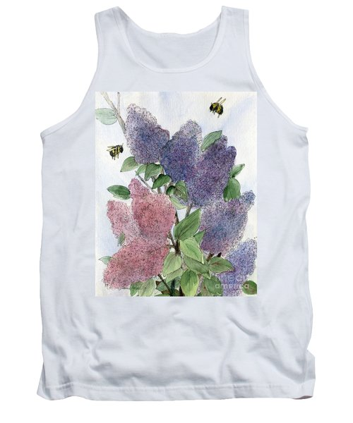 Lilacs And Bees Tank Top