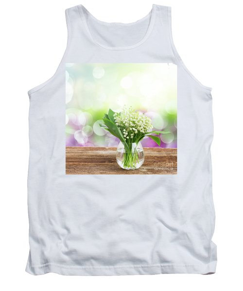 Lilly Of Valley Posy In Glass Tank Top