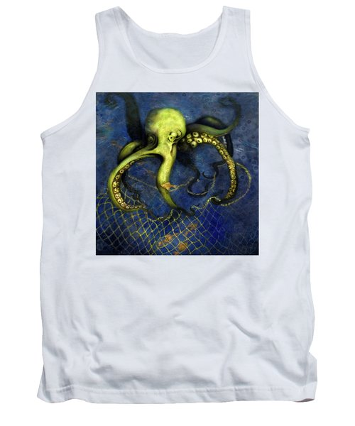 Lime Green Octopus With Net Tank Top