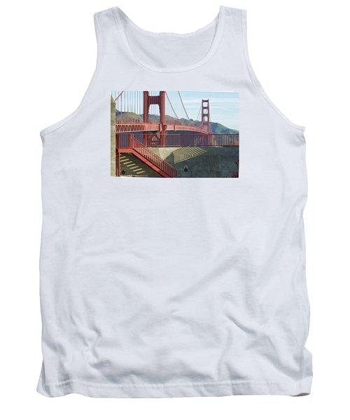 Tank Top featuring the photograph Linear Golden Gate Bridge by Steve Siri