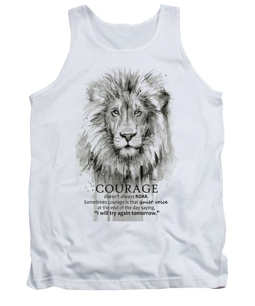 Lion Courage Motivational Quote Watercolor Animal Tank Top