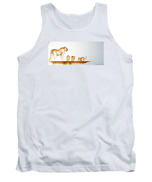 Lioness And Cubs Small - Original Artwork Tank Top