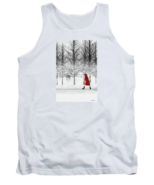 Tank Top featuring the digital art Little Red by Nancy Levan