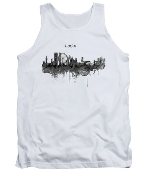 London Black And White Skyline Watercolor Tank Top