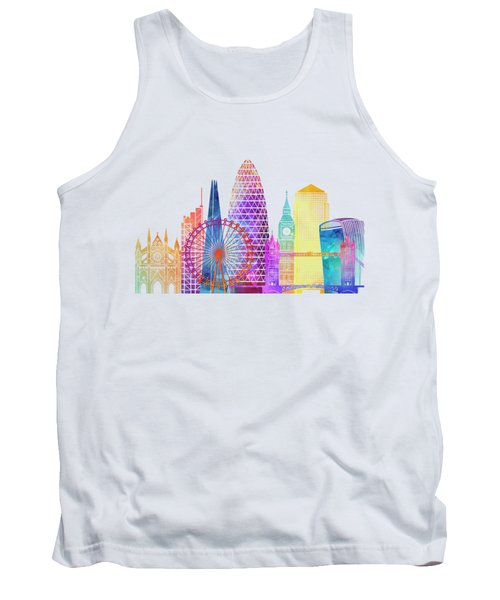 London Landmarks Watercolor Poster Tank Top