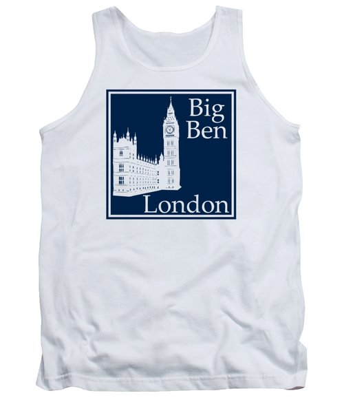 London's Big Ben In Oxford Blue Tank Top by Custom Home Fashions