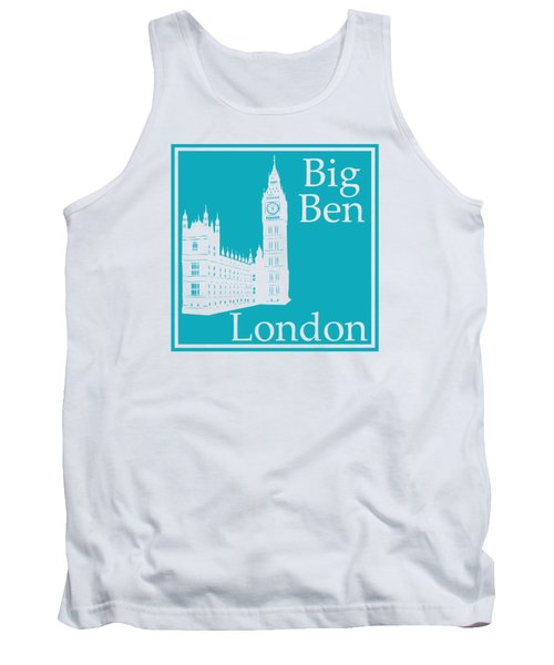 London's Big Ben In Robin's Egg Blue Tank Top by Custom Home Fashions