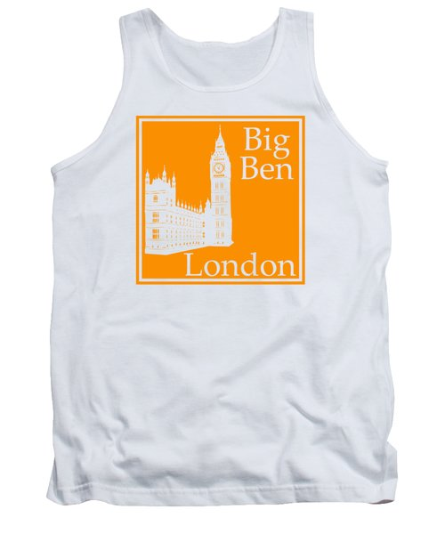 London's Big Ben In Tangerine Tank Top by Custom Home Fashions