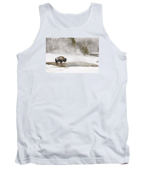 Tank Top featuring the photograph Bison Keeping Warm by Gary Lengyel