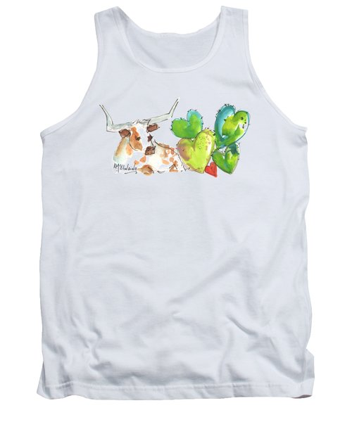 Longhorn And Valentine Cactus Tank Top