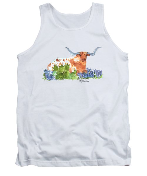 Longhorn In The Cactus And Bluebonnets Lh014 Kathleen Mcelwaine Tank Top