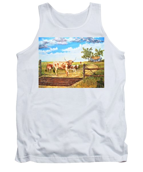 Longhorn Stand Off Your Place Or Mine Tank Top
