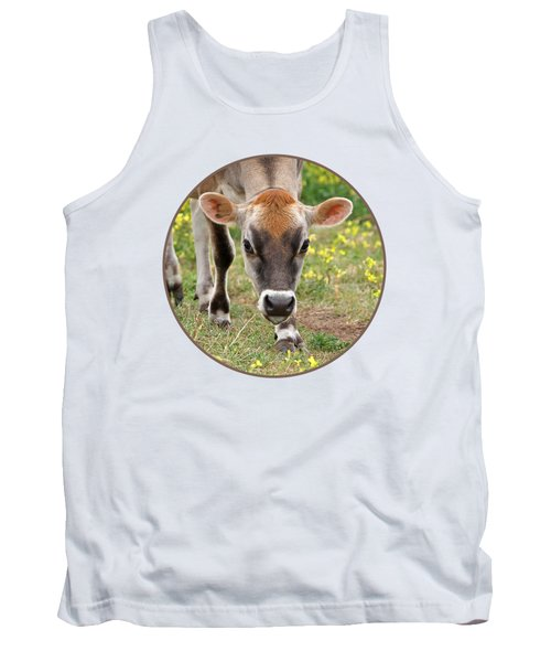 Look Into My Eyes - Jersey Cow - Square Tank Top by Gill Billington