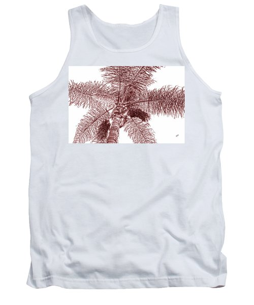 Looking Up At Palm Tree Red Tank Top by Ben and Raisa Gertsberg