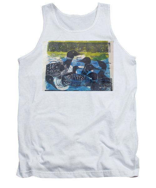 Tank Top featuring the mixed media Loon, I See by Cynthia Lagoudakis