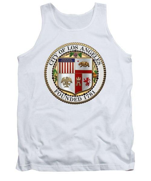 Los Angeles City Seal Over White Leather Tank Top