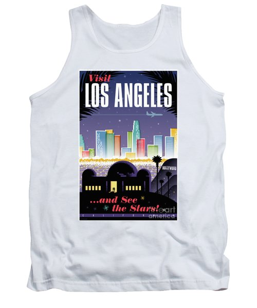 Los Angeles Retro Travel Poster Tank Top by Jim Zahniser