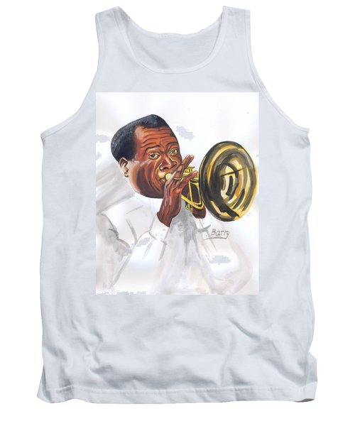 Tank Top featuring the painting Louis Armstrong by Emmanuel Baliyanga
