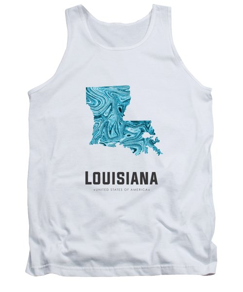 Louisiana Map Art Abstract In Blue Tank Top