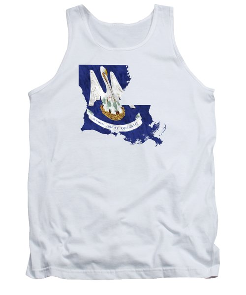Louisiana Map Art With Flag Design Tank Top