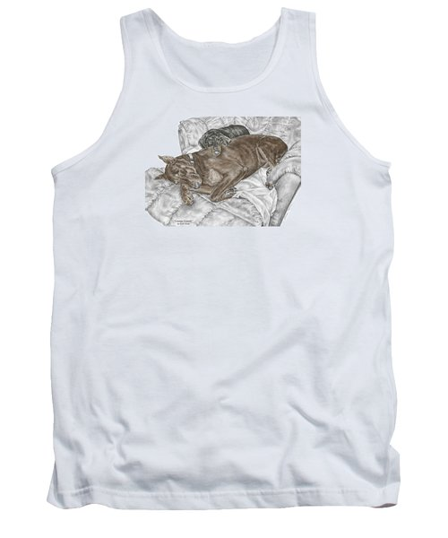 Tank Top featuring the drawing Lounge Lizards - Doberman Pinscher Puppy Print Color Tinted by Kelli Swan