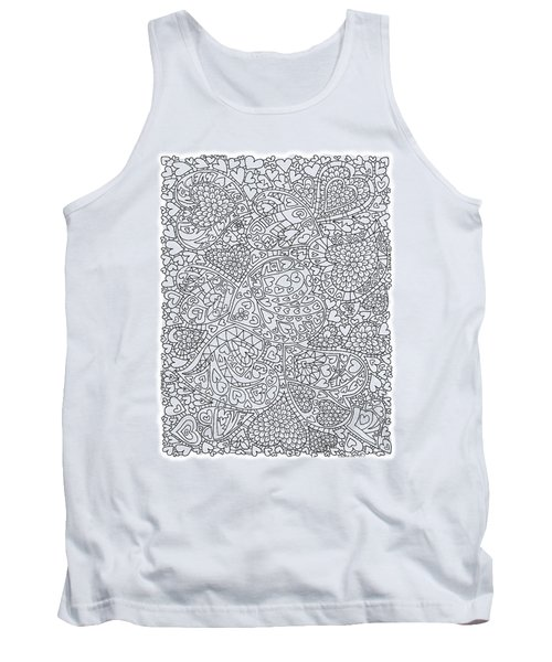 Love And Chrysanthemum Filled Hearts Vertical Tank Top by Tamara Kulish