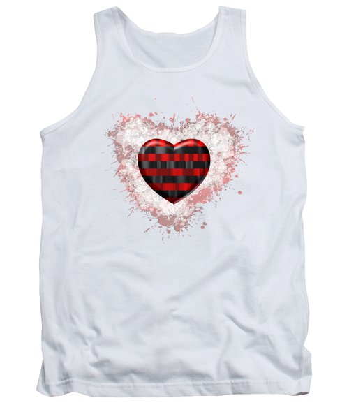 Tank Top featuring the digital art Love Horizontal Black And Red Stripes by Alberto RuiZ