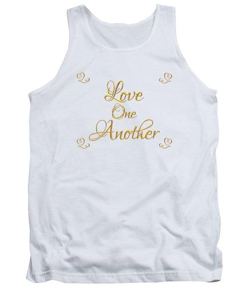 Love One Another Golden 3d Look Script Tank Top