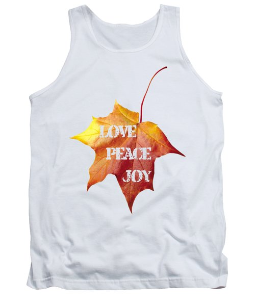 Love Peace Joy Carved On Fall Leaf Tank Top