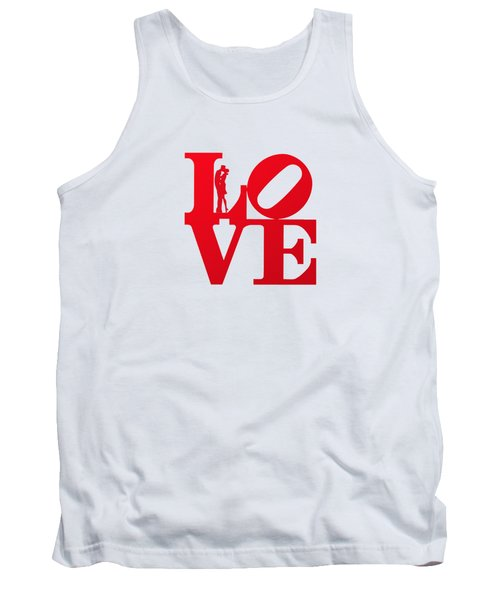 Love Typography - Red On White Tank Top