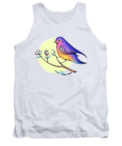 Lovely Spring Day Bird And Flowers Tank Top
