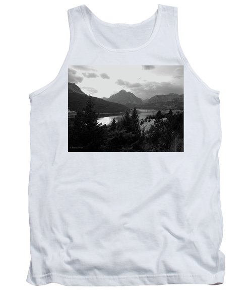 Lower Two Medicine Lake In Black And White Tank Top