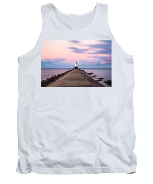 Tank Top featuring the photograph Ludington North Breakwater Light Sunrise by Adam Romanowicz