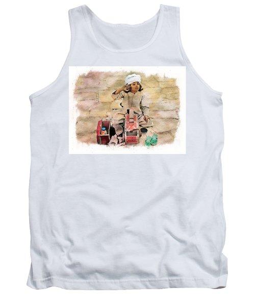 Tank Top featuring the photograph Luxor Shoeshine Girl by Joseph Hendrix