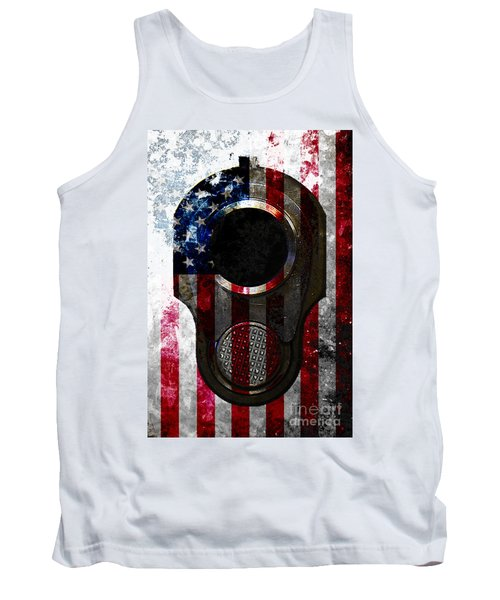 M1911 Colt 45 Muzzle And American Flag On Distressed Metal Sheet Tank Top