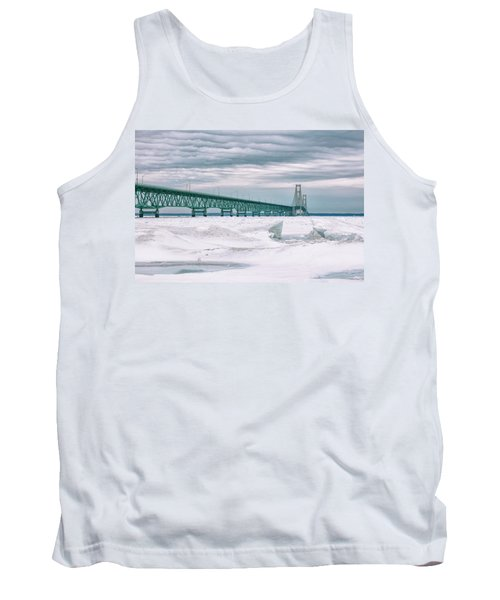 Tank Top featuring the photograph Mackinac Bridge In Winter During Day by John McGraw