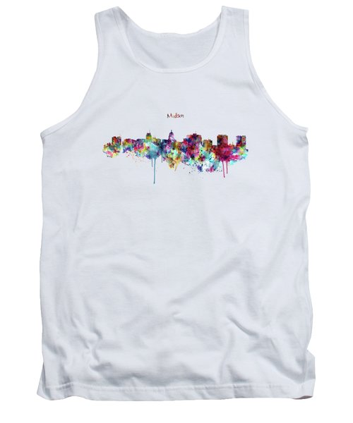 Tank Top featuring the mixed media Madison Skyline Silhouette by Marian Voicu
