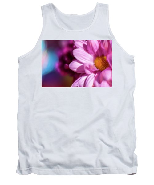 Magenta Floral On Blue Tank Top